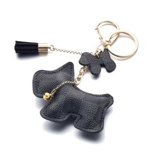 Accessories - Black Leather Dog Keychain